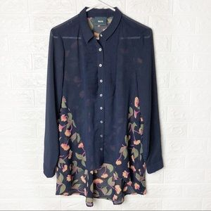 Maeve Blue Floral High Low Tunic Sheer Blouse
